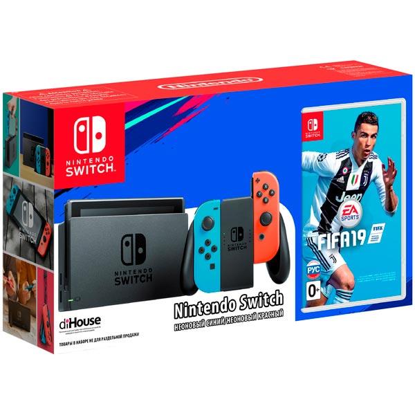 Игровая приставка Nintendo Switch красный/синий + FIFA 19