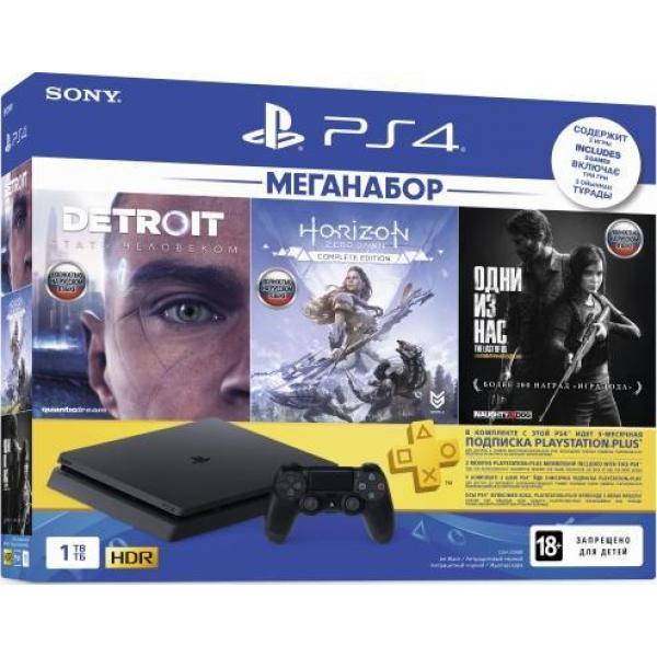 Игровая приставка Sony PlayStation 4 Slim 1TB (CUH-2208B) Detroit + Horizon Zero Dawn + Одни из нас + подписка PlayStation Plus 3 месяца