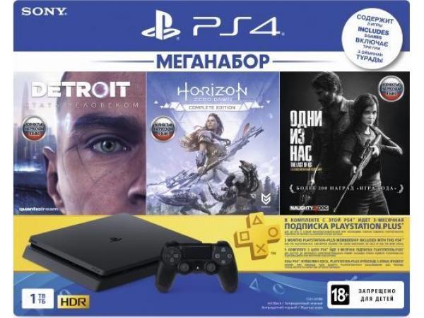 Игровая приставка Sony PlayStation 4 Slim 1TB (CUH-2208B) Detroit + Horizon Zero Dawn + Одни из нас + подписка PlayStation Plus 3 месяца