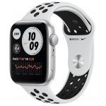 Умные часы Apple Watch SE GPS 44мм Aluminum Case with Nike Sport Band Серебристый/чистая платина/черный